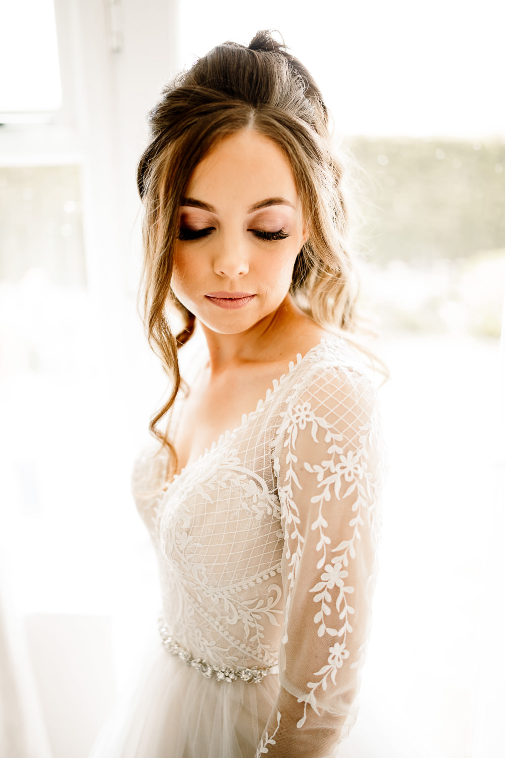 Bride Bridal Hair Curls Waves Make Up Wharfedale Grange Wedding Hayley Baxter Photography