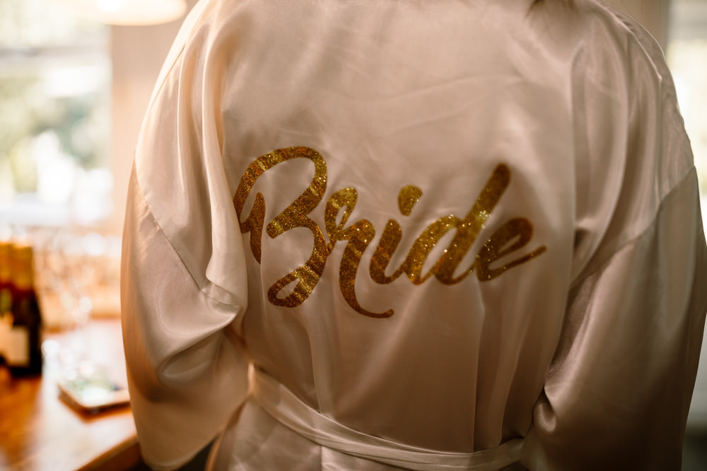 Bride Bridal Dressing Gown Robe Wharfedale Grange Wedding Hayley Baxter Photography