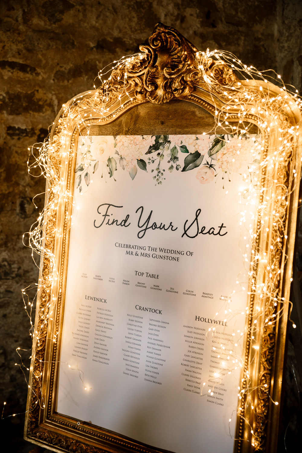 Seating Plan Table Chart Gold Frame Fairy Lights Wharfedale Grange Wedding Hayley Baxter Photography