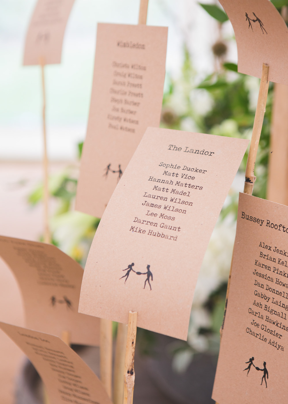 Seating Plan Table Chart Sticks Airbnb Wedding Pickavance Weddings