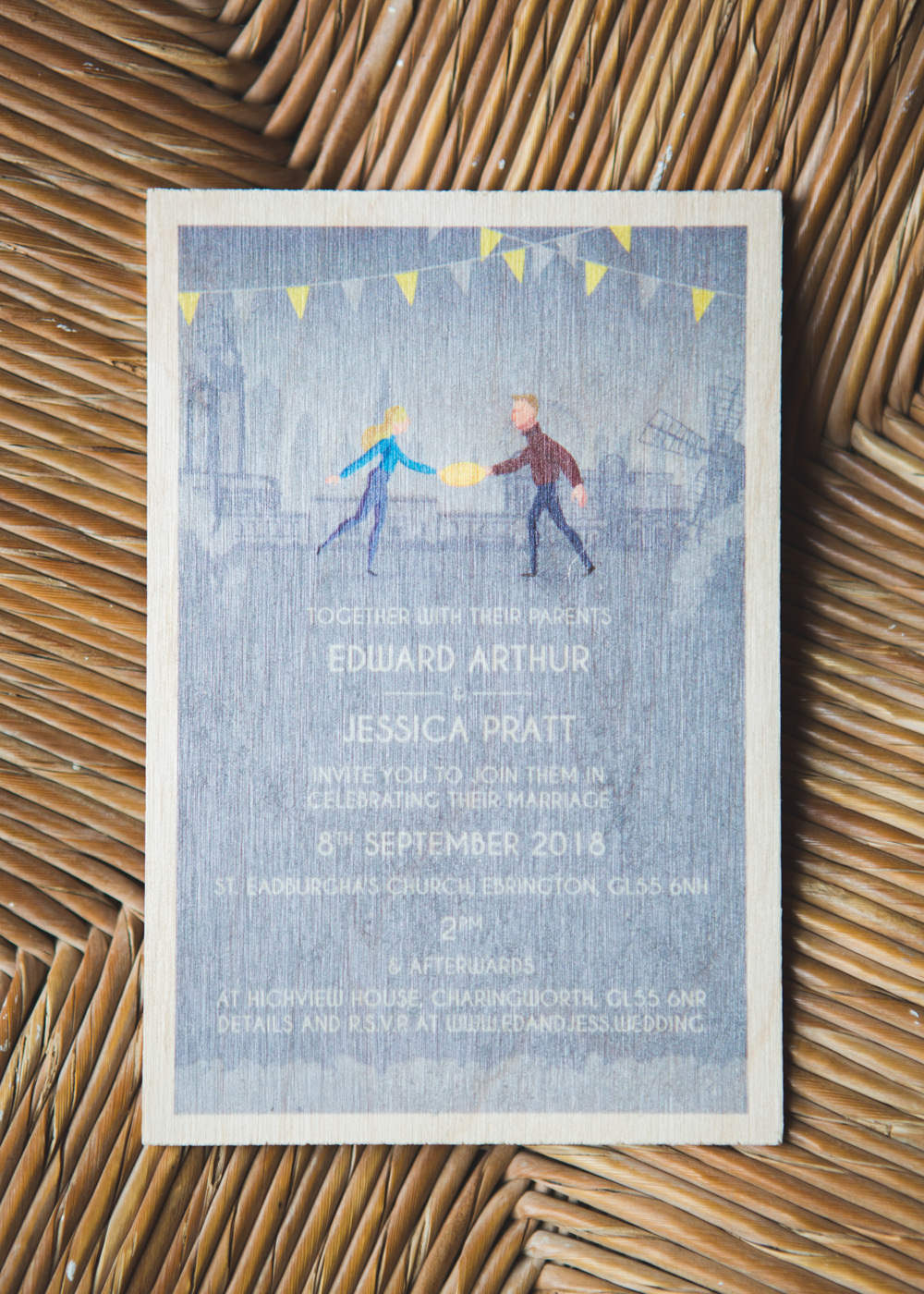 Stationery Invite Invitations Bunting Airbnb Wedding Pickavance Weddings
