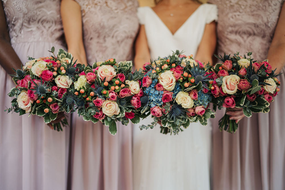 Bouquet Flowers Bride Bridal Pink Blue Rose Thisle Berry Hydrangea Bridesmaid Boho Country Wedding Kit Myers Photography