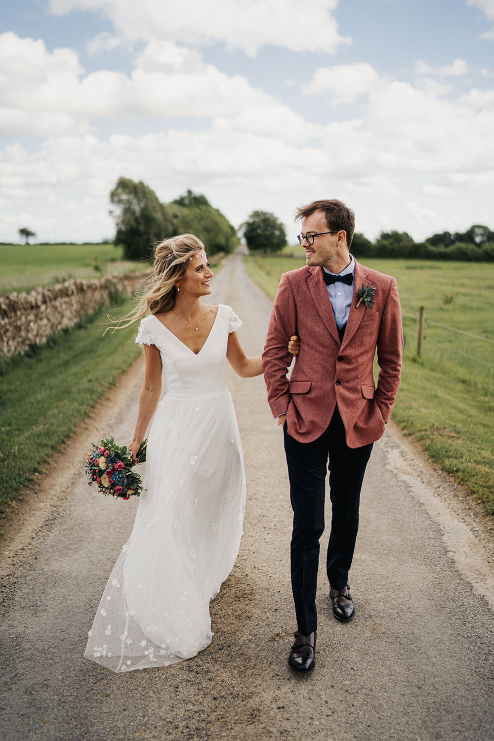 Groom Suit Pink Jacket Blue Shirt Bow Tie Waistcoat Boho Country Wedding Kit Myers Photography