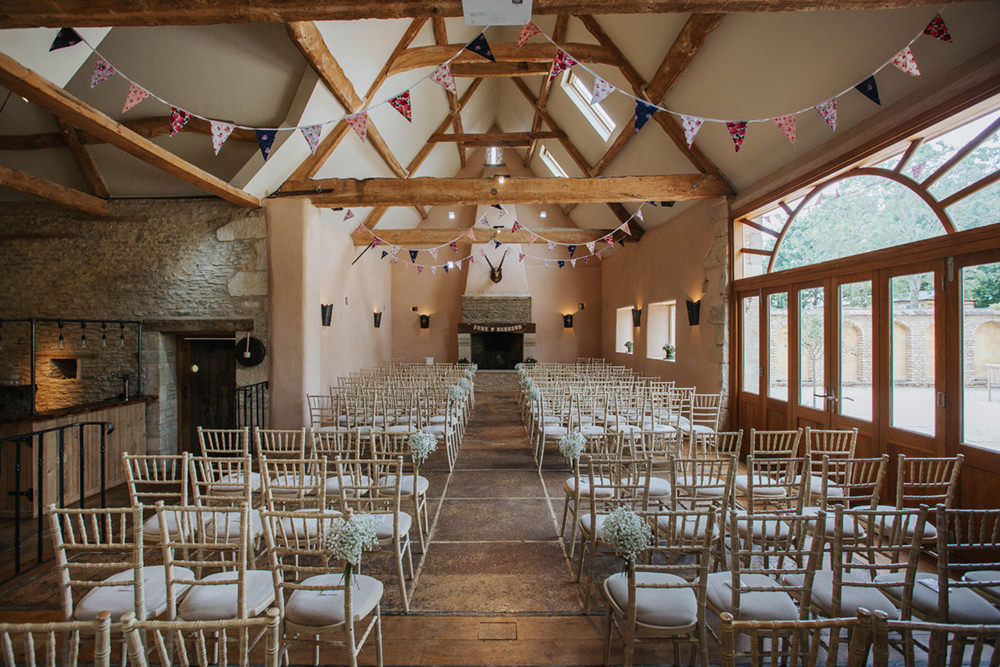 Oxleaze Barn Venue Ceremony Chairs Fireplace Bunting Pew End Aisle Flowers Gyp Gypsophila Boho Country Wedding Kit Myers Photography