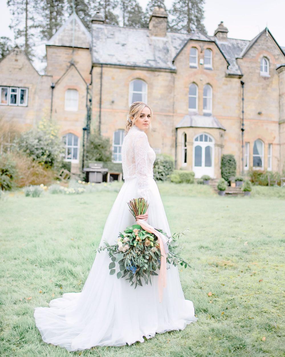 Bride Bridal Dress Gown High Neckline Lace Sleeves Tulle Skirt Elegant Wedding Ideas Yll Weddings