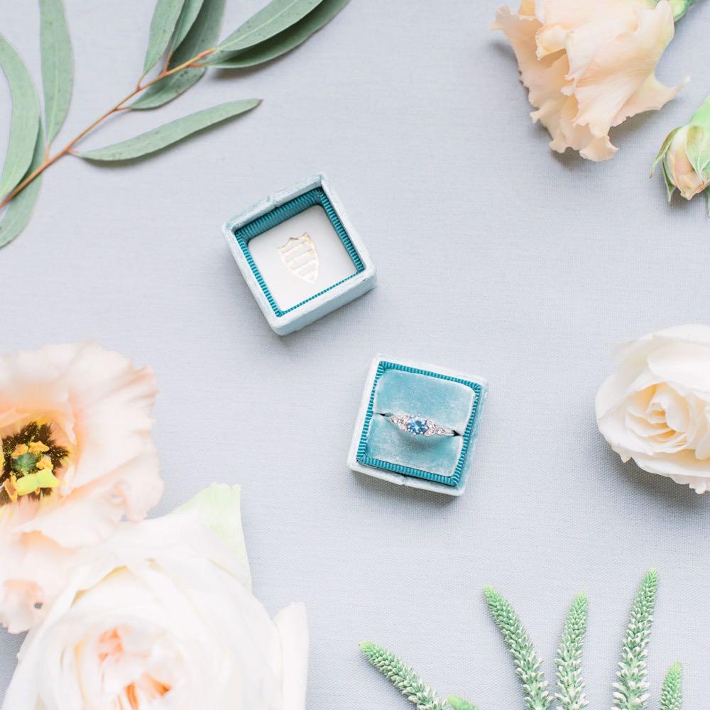 Engagement Ring Band Blue Stone Velvet Box Elegant Wedding Ideas Yll Weddings