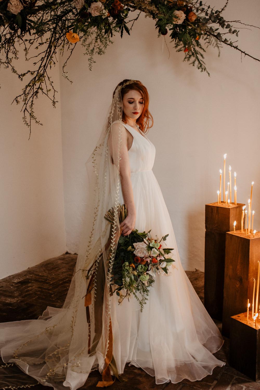 Dress Gown Bride Bridal Organza Crown Veil Elopement Wedding Ideas Oilvejoy Photography