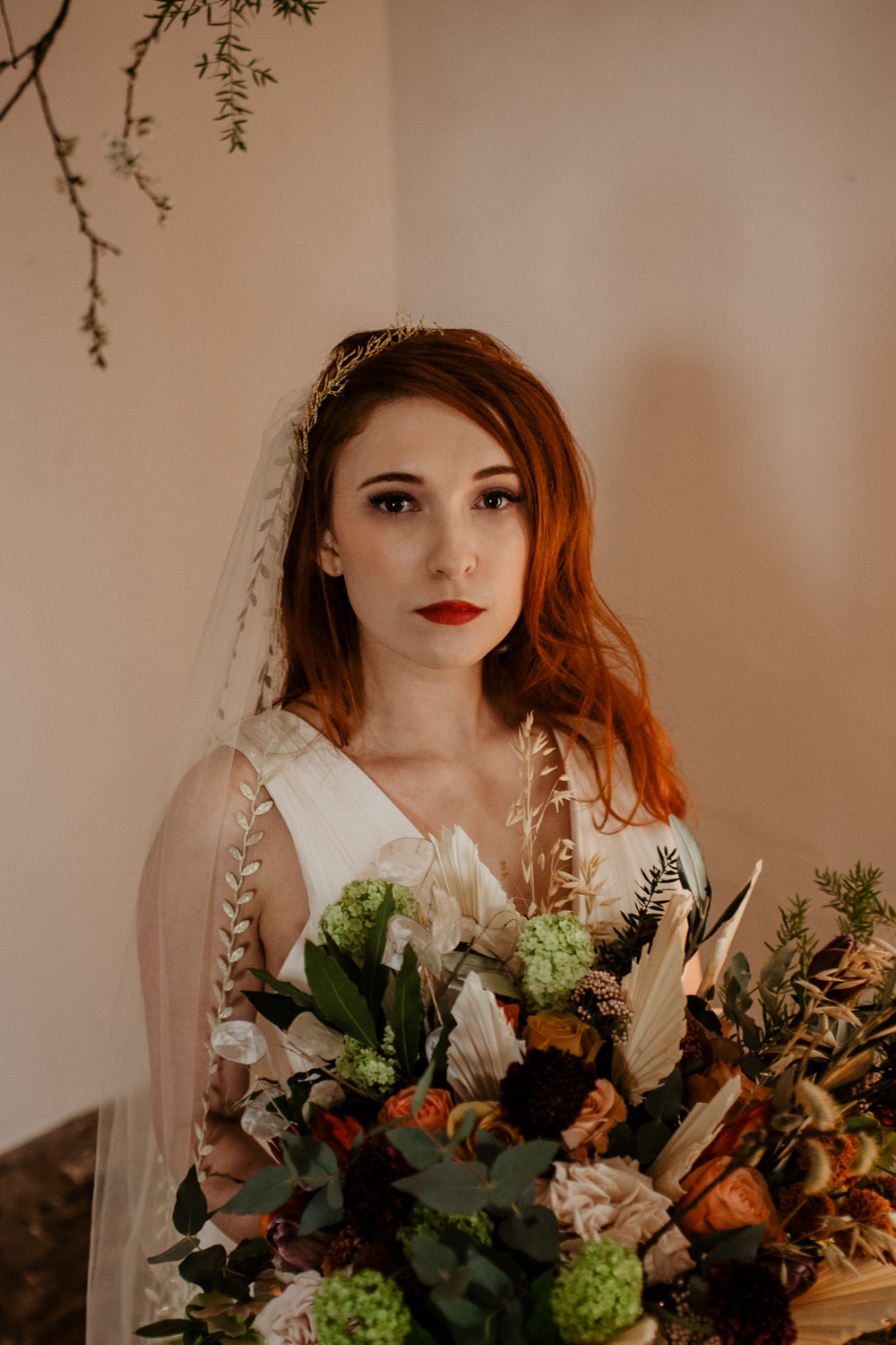Bride Bridal Make Up Long Hair Waves Curls Veil Crown Bouquet Flowers Bride Bridal Ribbons Orange Rose Dried Flowers Seed Heads Large Oversized Autumn Fall Elopement Wedding Ideas Oilvejoy Photography