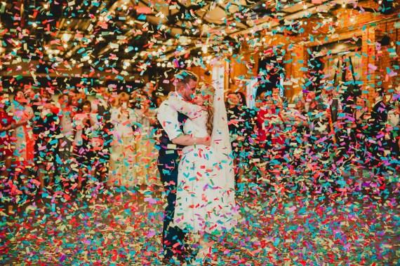 Confetti Cannon Dancefloor First Dance Elsecar Heritage Centre Wedding Ayesha Photography