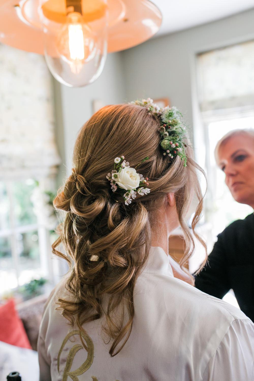 Bride Bridal Hair Up Do Flowers Half Hair Crown Lincolnshire Tipi Wedding Jessy Jones Photography