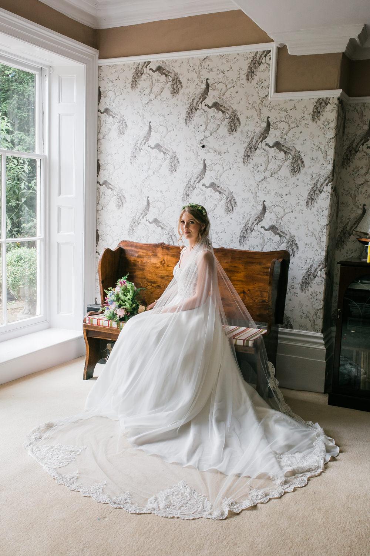 Bride Bridal V Neck A Line Dress Gown Lace Edged Veil Flower Crown Multicoloured Bouquet Lincolnshire Tipi Wedding Jessy Jones Photography