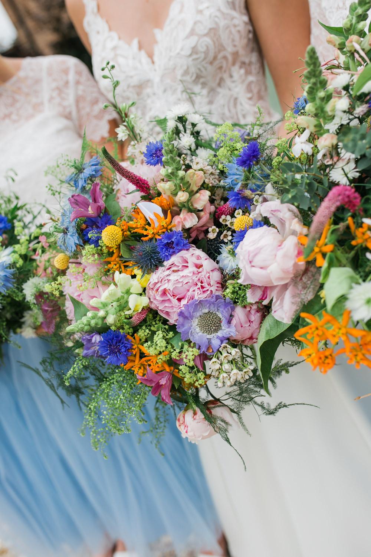 Bride Bridal Bridesmaids Multicoloured Wildflower Bouquets Lincolnshire Tipi Wedding Jessy Jones Photography