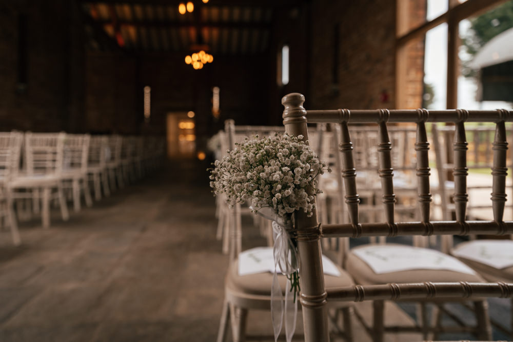 Gypsophila Aisle Pew End Mickleton Hills Farm Wedding Jules Barron Photography