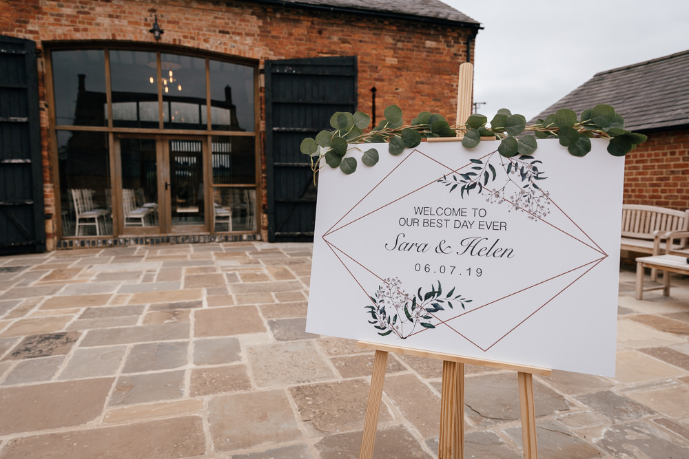 Welcome Sign Greenery Eucalyptus Easel Geometric Mickleton Hills Farm Wedding Jules Barron Photography