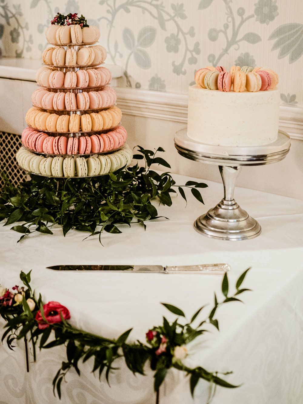 Macaron Tower Cutting Cake Buttercream Greenery Stand Peach Pink Middlethorpe Hall Wedding Andy Withey Photography