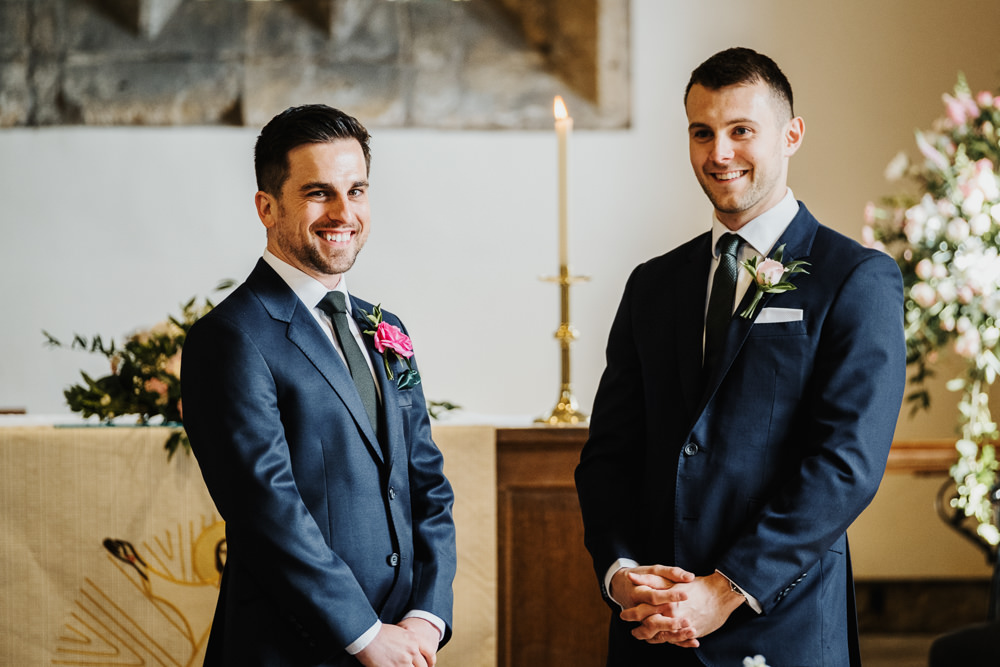 Navy Suit Groom Middlethorpe Hall Wedding Andy Withey Photography