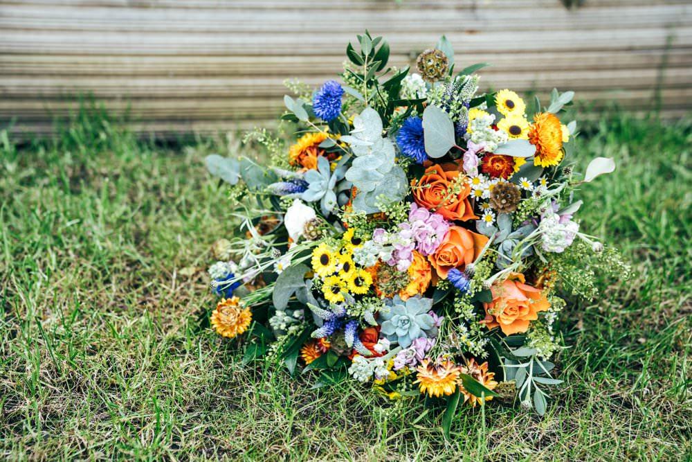 Bouquet Flowers Bride Bridal Colourful Orange Yellow Blue Outdoor DIY Wedding Three Flowers Photography