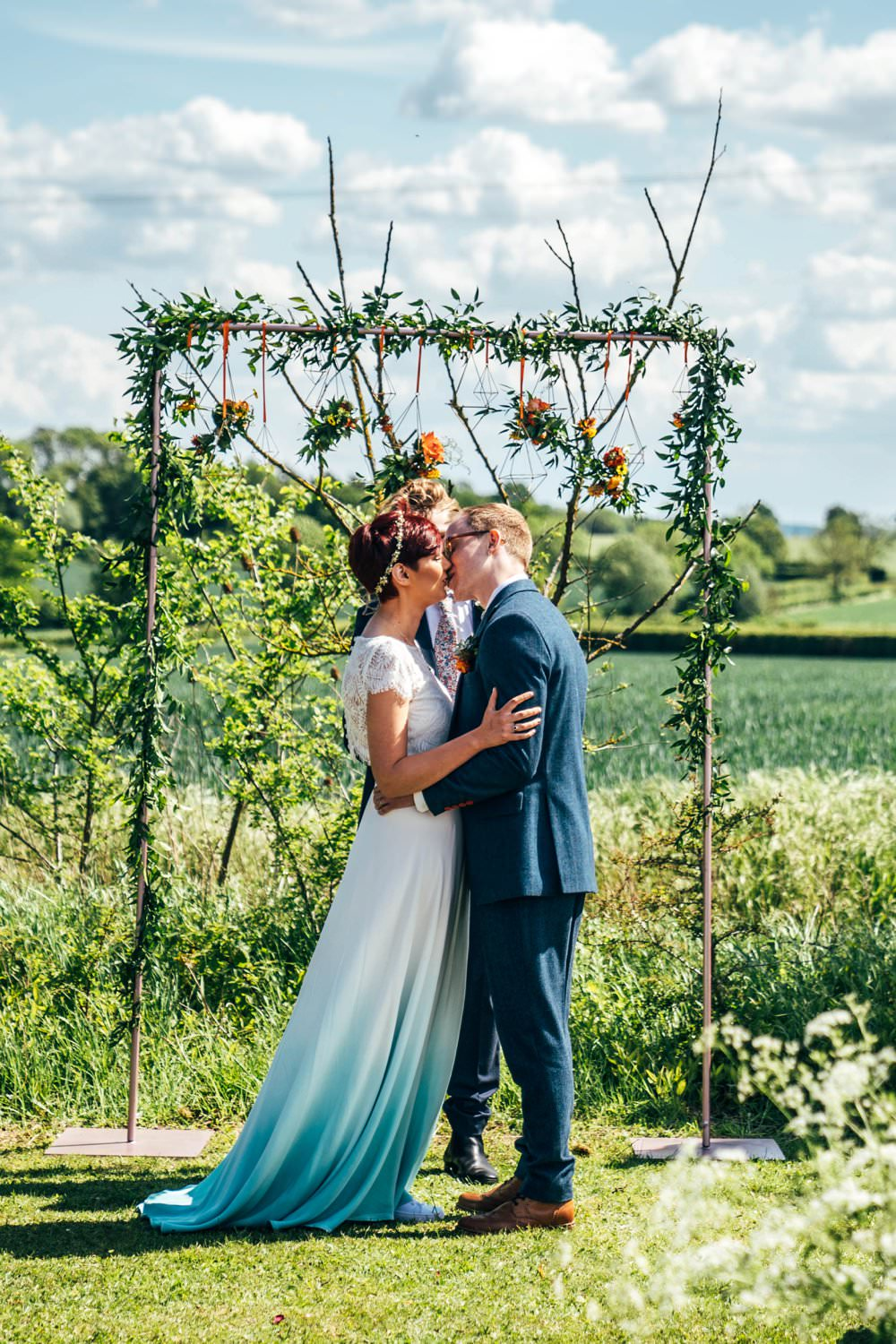 Ceremony Aisle Frame Arch Backdrop Greenery Foliage Flowers Outdoor DIY Wedding Three Flowers Photography