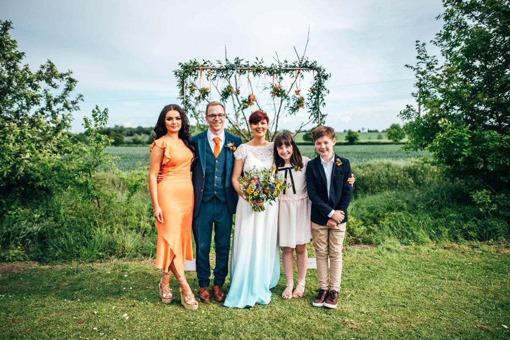Bridesmaid Coral Orange Dress Dresses Outdoor DIY Wedding Three Flowers Photography