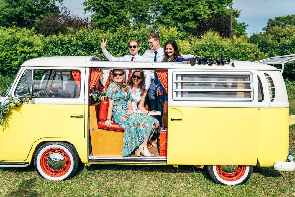 VW Campervan Transport Yellow Outdoor DIY Wedding Three Flowers Photography
