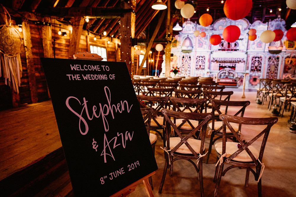 Chalk Board Welcome Sign Ceremony Paper Lanterns Preston Court Wedding The Last Of The Light