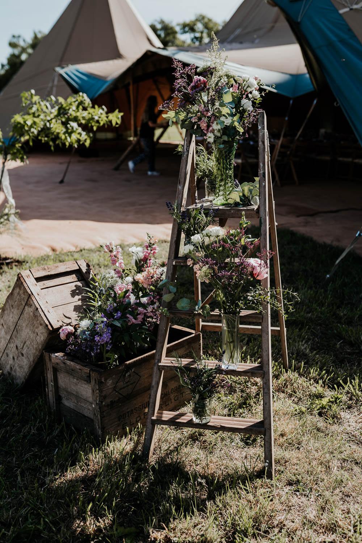 Wooden Ladder Decor Decoration Flowers Crates Village Tipi Wedding Ryan Goold Photography