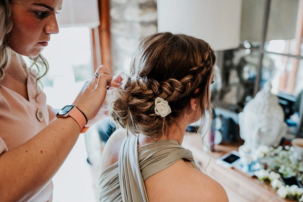 Hair Style Up Do Plait Braid Bridesmaid Flower Village Tipi Wedding Ryan Goold Photography