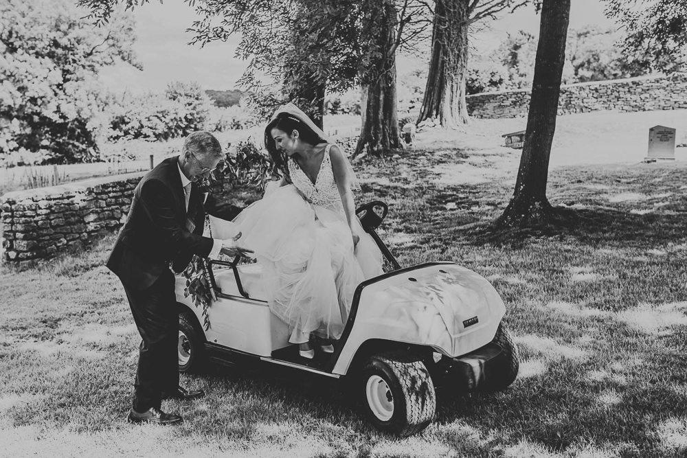 Golf Buggy Transport Village Tipi Wedding Ryan Goold Photography