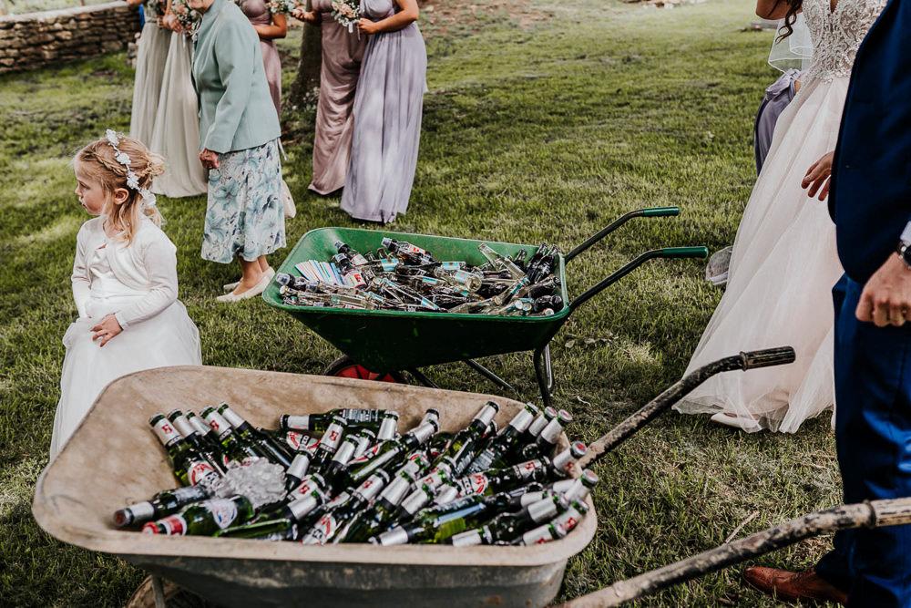 Wheelbarrow Booze Drinks Village Tipi Wedding Ryan Goold Photography