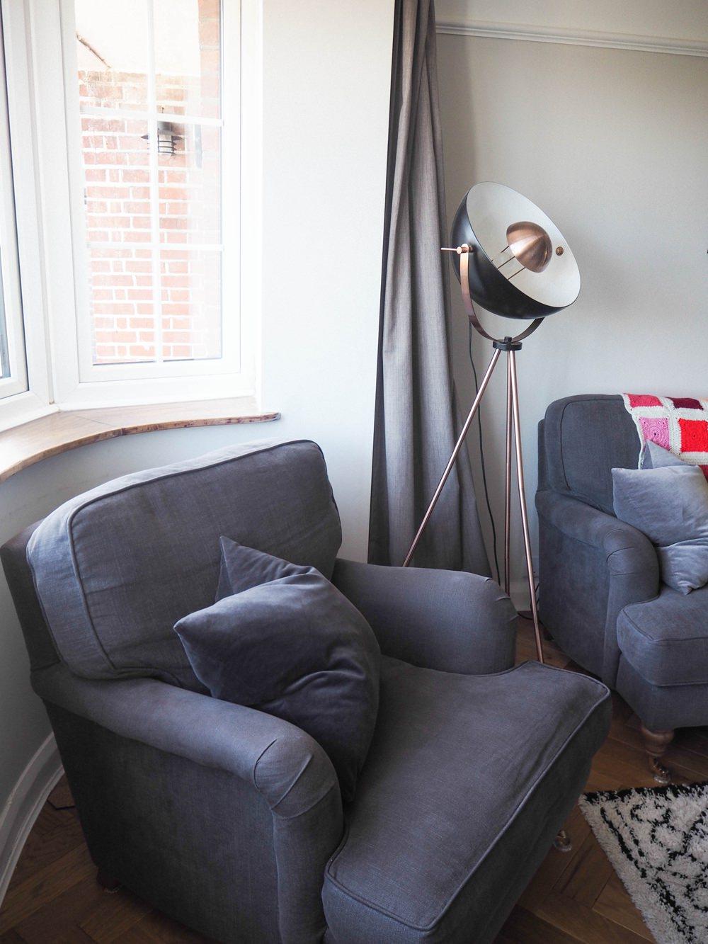 1930s House Living Room Renovation Grey Armchair Bluebell Sofa.com Velvet Cushion Floorlamp Bay Window Curtains