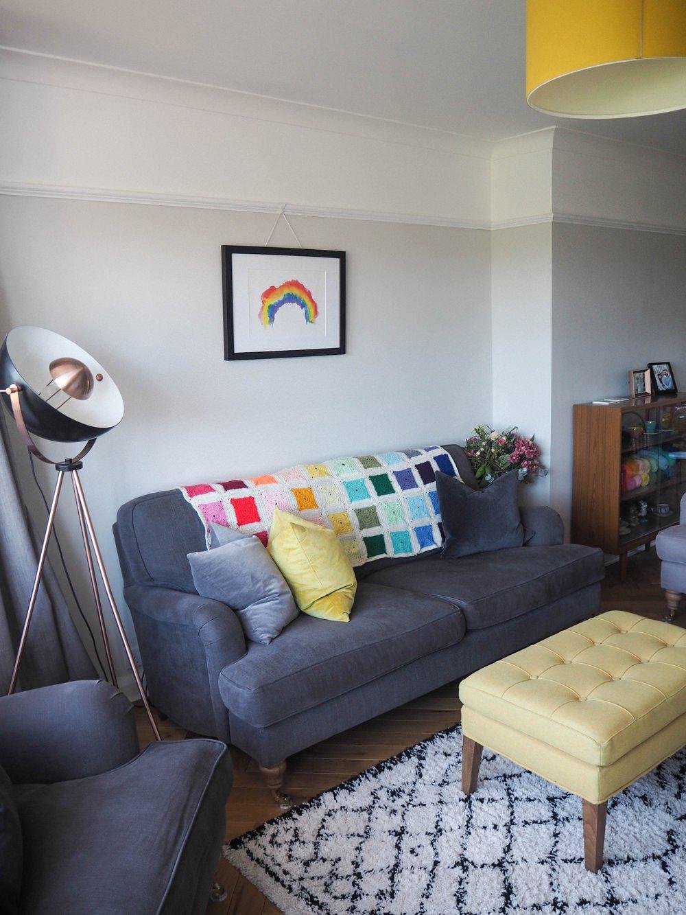 1930s House Living Room Renovation 1930s House Living Room Renovation Velvet Cushions Mustard Yellow Grey Sofa Rainbow Crochet Blanket Print Footstool Lampshade La Redoute Rug