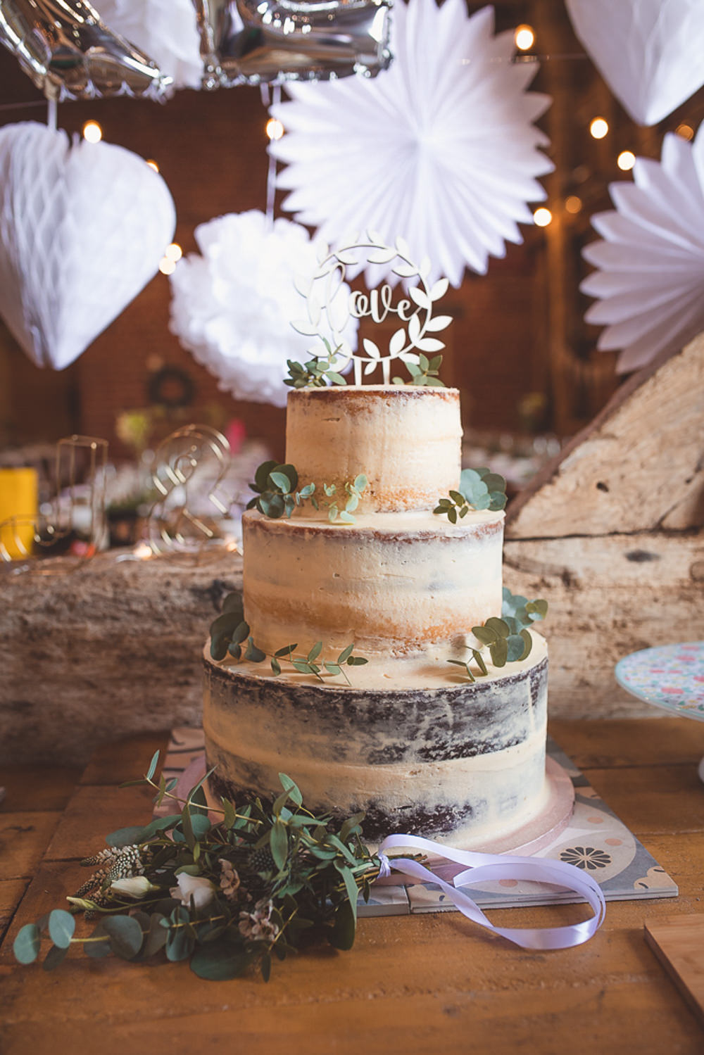 Semi Naked Cake Greenery Foliage Laser Cut Topper Barn Wedding Shropshire Brightwing Photography