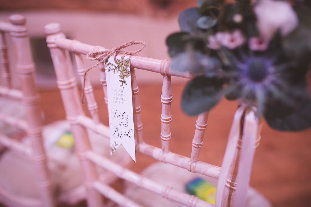 Ceremony Chair Labels Barn Wedding Shropshire Brightwing Photography