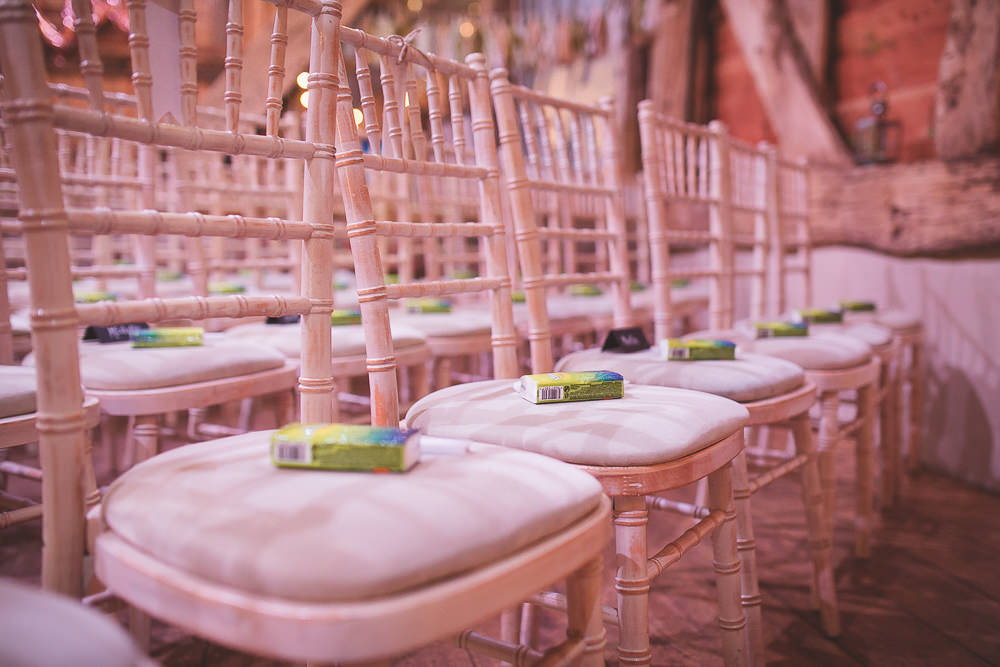Ceremony Chairs Tissues Barn Wedding Shropshire Brightwing Photography