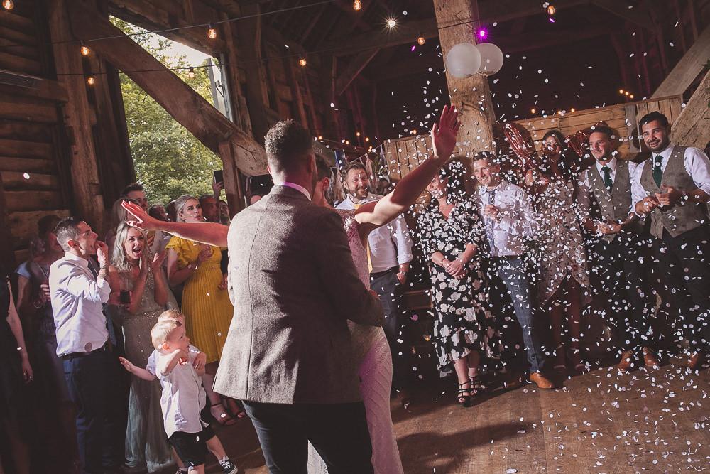 Confetti First Dance Barn Wedding Shropshire Brightwing Photography