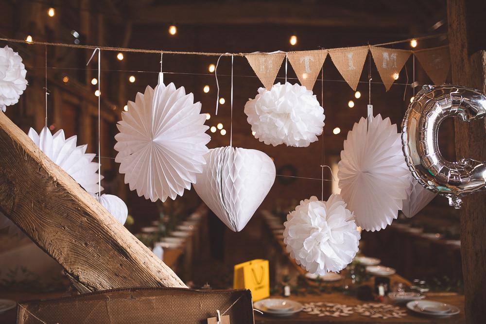 Lanterms Pom Poms Pinwheels Decor Decoration Barn Wedding Shropshire Brightwing Photography