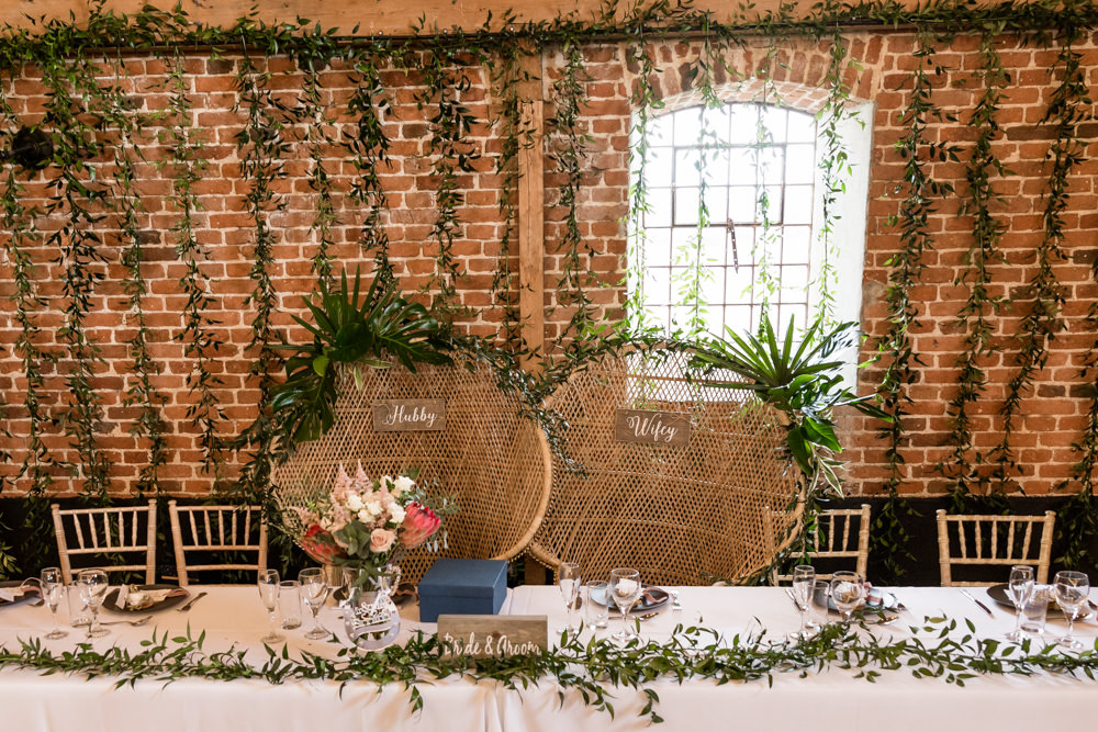 Peacock Chair Bride Groom Greenery Top Table Garland Botanical Barn Wedding Heather Jackson Photography