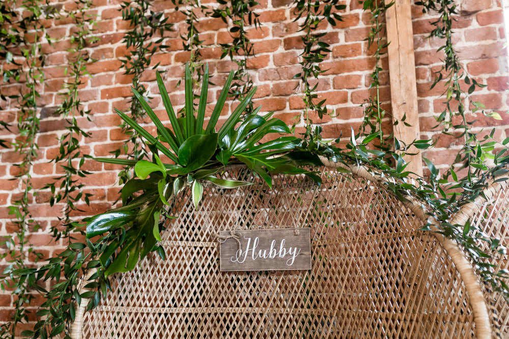 Peacock Chair Greenery Hubby Sign Botanical Barn Wedding Heather Jackson Photography