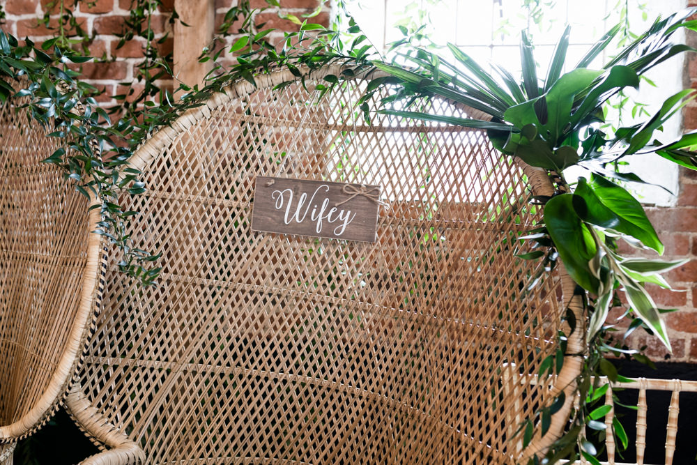 Peacock Chair Greenery Wifey Botanical Barn Wedding Heather Jackson Photography