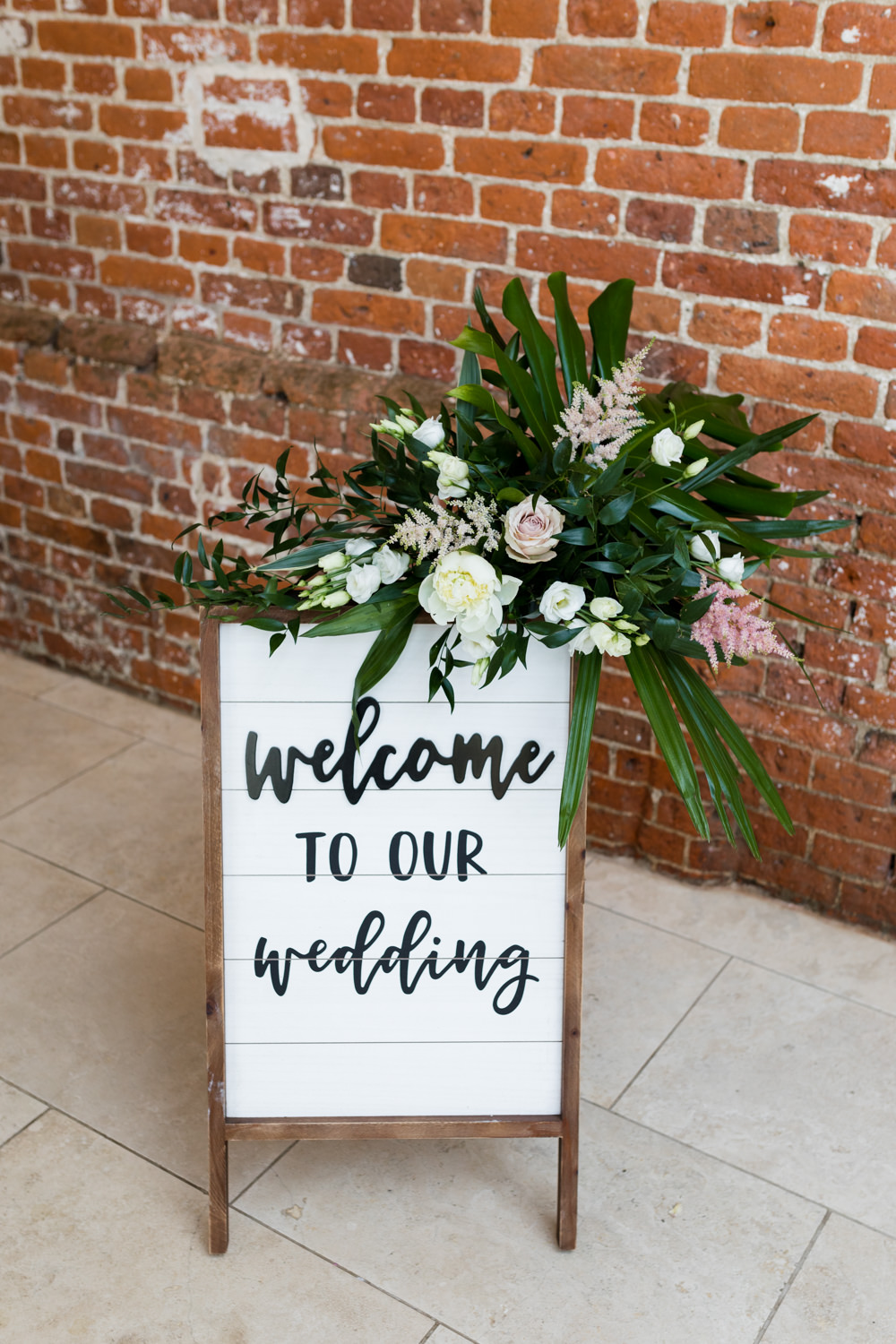 Welcome Sign Tropical Botanical Barn Wedding Heather Jackson Photography