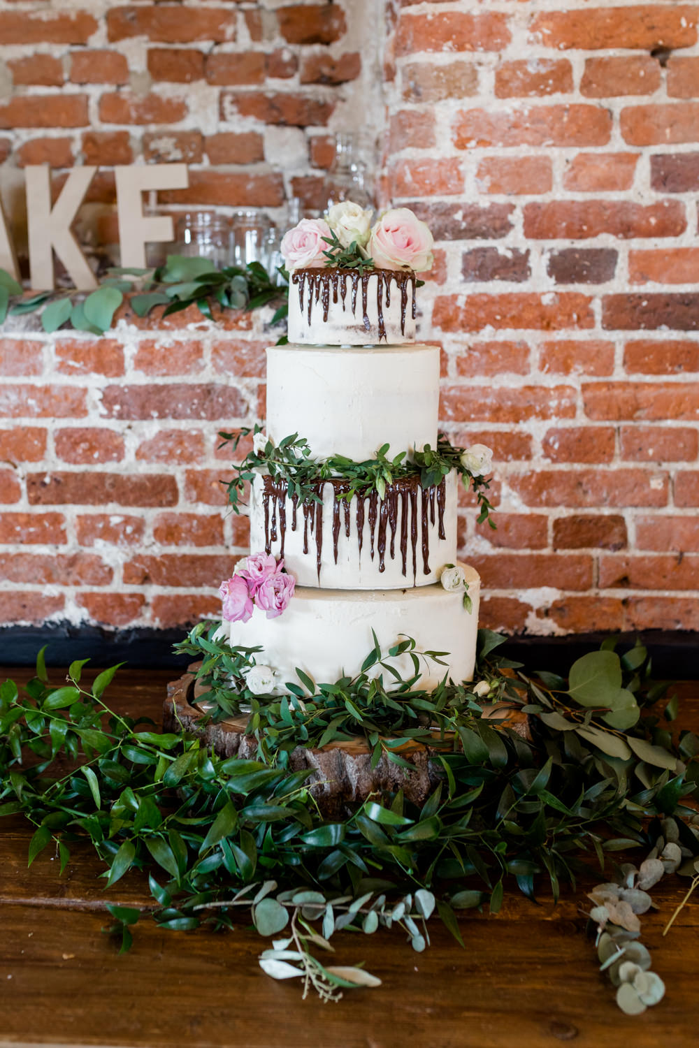 Drip Cake Flowers Floral Greenery Botanical Barn Wedding Heather Jackson Photography