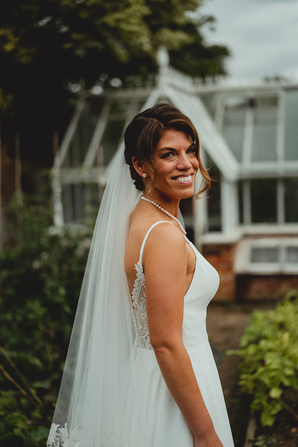 Bride Bridal Strappy Sleeveless Lace V Neck Dress Gown Veil Pearl Necklace British Countryside Wedding Georgia Rachael Photography