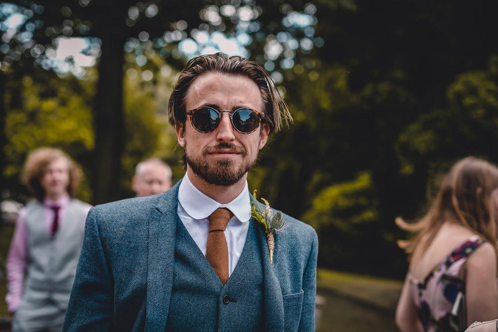 Blue Herringbone Tweed Suit Groom Round Collar Shirt Sunglasses DIY Bohemian Wedding Love & Bloom Photography
