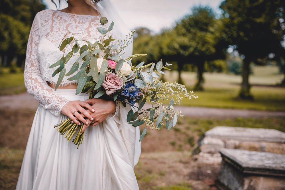 Bride Bridal Lace Long Sleeve Sweetheart Separates Rose Eucalyptus Wild Bouquet Flower Crown Veil DIY Bohemian Wedding Love & Bloom Photography