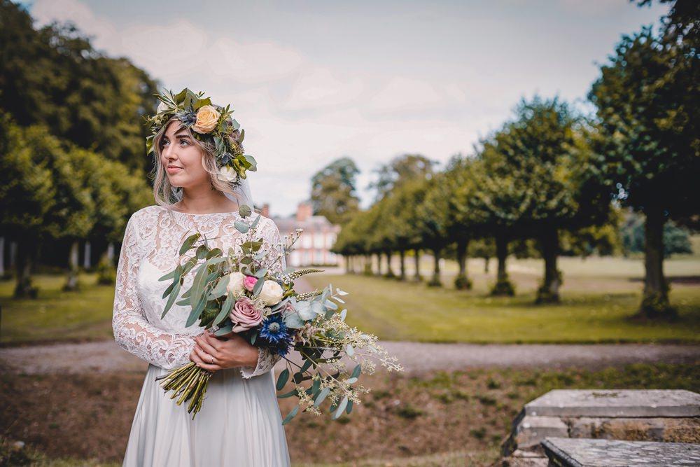 Bride Bridal Lace Long Sleeve Sweetheart Separates Wild Loose Bouquet Flower Crown Veil DIY Bohemian Wedding Love & Bloom Photography