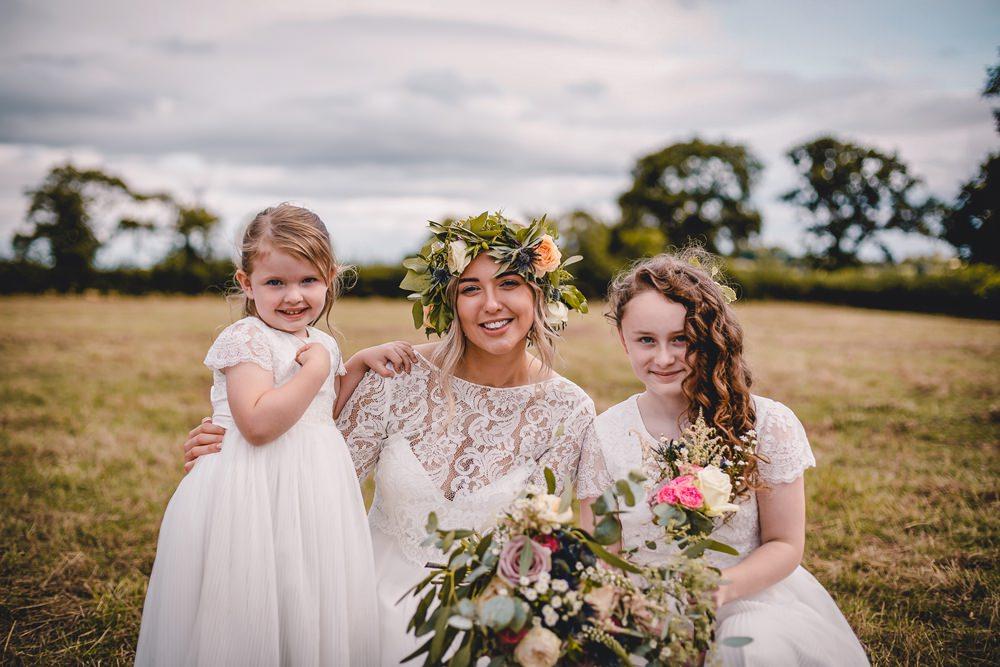 Bride Bridal Lace Long Sleeve Sweetheart Separates Flower Girl Bridesmaid Flower Crown Veil DIY Bohemian Wedding Love & Bloom Photography