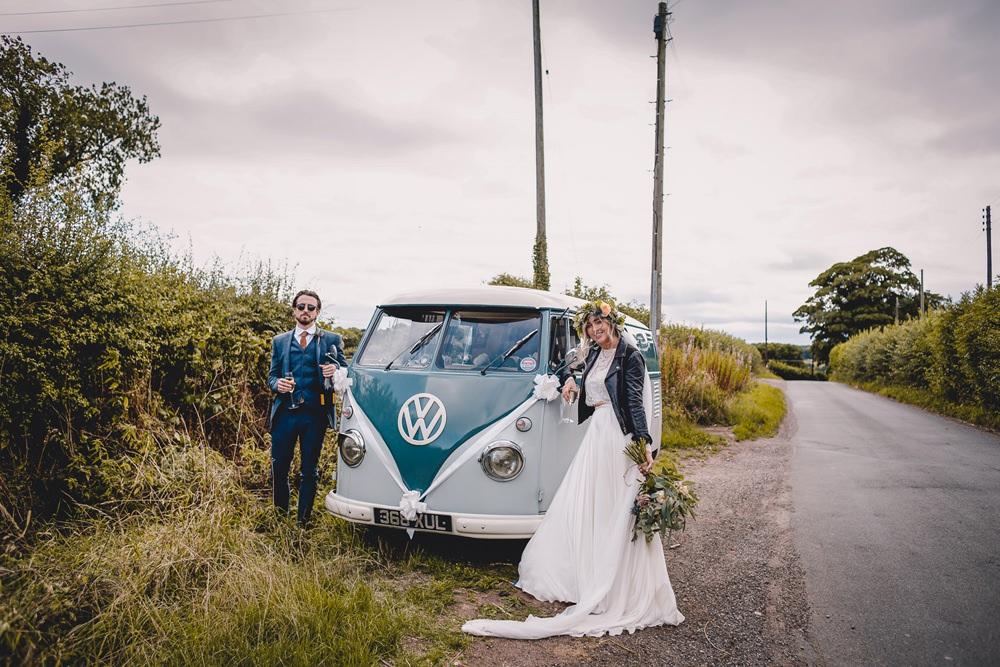Bride Bridal Lace Long Sleeve Sweetheart Separates Blue Herringbone Tweed Suit Groom Flower Crown Veil Leather Jacket VW Campervan DIY Bohemian Wedding Love & Bloom Photography