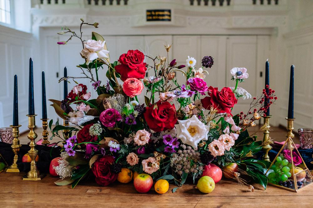 Flower Arrangement Red Rose Burgundy Ranunculus Fruit Table Flowers Anemone Dutch Art Wedding Ideas Berni Palumbo Photography