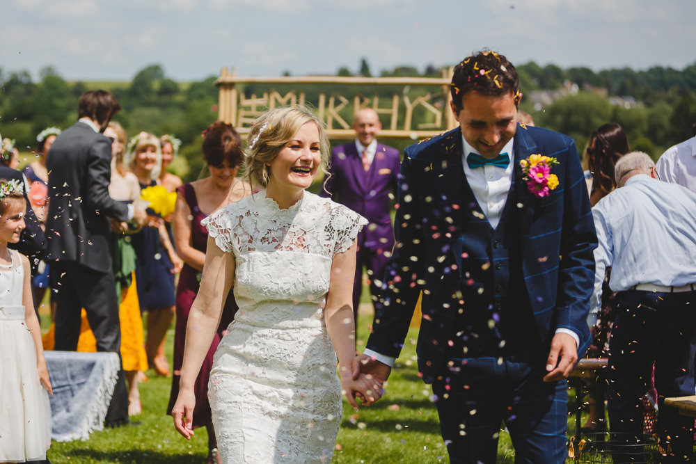 Bride Bridal High Neck Cap Sleeve Lace Fitted Dress Gown Bow Tie Waistcoat Groom Confetti East Keswick Village Hall Wedding James & Lianne Wedding Photography