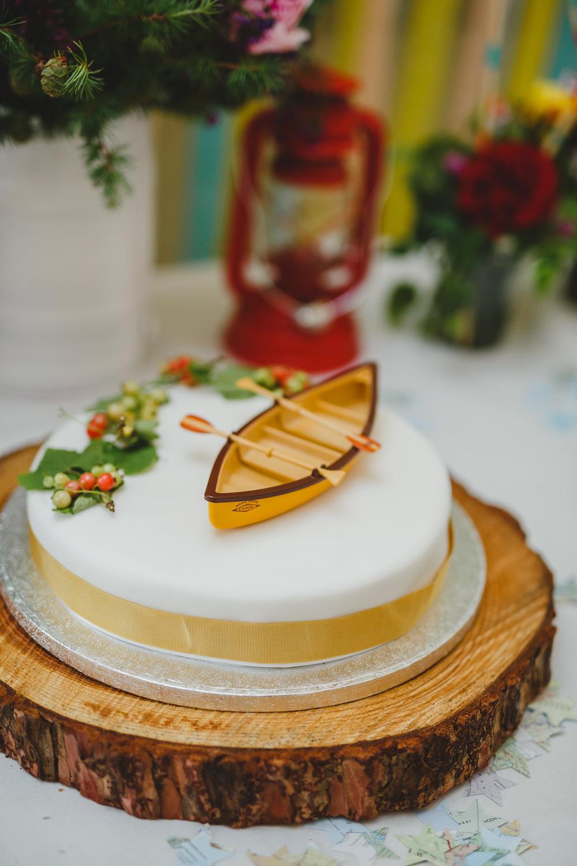 Cake Sylvanian Families Canoe Wes Anderson Wood Slice East Keswick Village Hall Wedding James & Lianne Wedding Photography